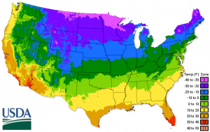 USDA Hardiness Zone Map from 2012